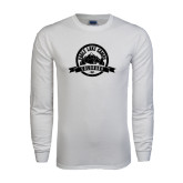 White Long Sleeve T Shirt-Eagle Lake Badge Distressed