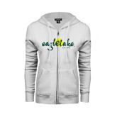 ENZA Ladies White Fleece Full Zip Hoodie-Eagle Lake Camps