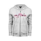 ENZA Ladies White Fleece Full Zip Hoodie-Eagle Lake Foil