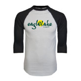 White/Black Raglan Baseball T-Shirt-Eagle Lake Camps