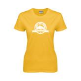 Ladies Gold T Shirt-Eagle Lake Badge Distressed