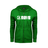 ENZA Ladies Kelly Green Fleece Full Zip Hoodie-NAVS