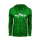 ENZA Ladies Kelly Green Fleece Full Zip Hoodie-Eagle Lake Camps