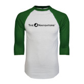 White/Dark Green Raglan Baseball T-Shirt-The Navigators