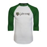 White/Dark Green Raglan Baseball T-Shirt-Glen Eyrie - Flat
