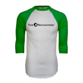 White/Kelly Green Raglan Baseball T Shirt-The Navigators