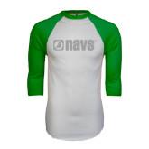 White/Kelly Green Raglan Baseball T Shirt-NAVS