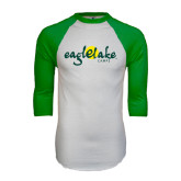 White/Kelly Green Raglan Baseball T Shirt-Eagle Lake Camps