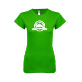Next Level Ladies SoftStyle Junior Fitted Kelly Green Tee-Eagle Lake Badge Distressed