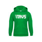 Youth Kelly Green Fleece Hoodie-NAVS Block Leaning Font w/Tails