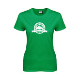 Ladies Kelly Green T Shirt-Eagle Lake Badge Distressed