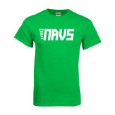 Kelly Green T Shirt-NAVS Block Leaning Font w/Tails