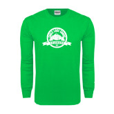 Kelly Green Long Sleeve T Shirt-Eagle Lake Badge Distressed
