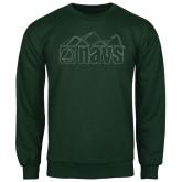 Dark Green Fleece Crew-NAVS Line Art Mountains