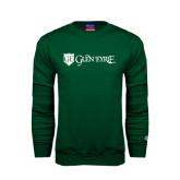 Dark Green Fleece Crew-Glen Eyrie - Flat
