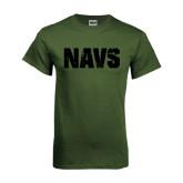 Military Green T Shirt-NAVS Distressed Navy Font