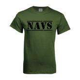 Military Green T Shirt-NAVS Distressed Retro Navy Font
