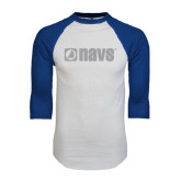 White/Royal Raglan Baseball T Shirt-NAVS
