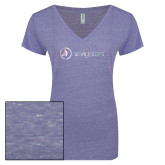 ENZA Ladies Surfer Blue Melange V Neck Tee-Navigators Foil
