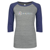ENZA Ladies Athletic Heather/Blue Vintage Baseball Tee-Navigators Foil