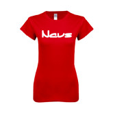 Next Level Ladies SoftStyle Junior Fitted Red Tee-NAVS New Age Font