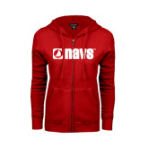 ENZA Ladies Red Fleece Full Zip Hoodie-NAVS
