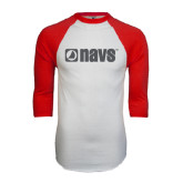 White/Red Raglan Baseball T-Shirt-NAVS