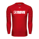Under Armour Red Long Sleeve Tech Tee-NAVS