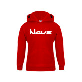 Youth Red Fleece Hoodie-NAVS New Age Font