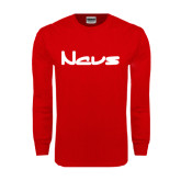Red Long Sleeve T Shirt-NAVS New Age Font