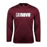 Syntrel Performance Maroon Longsleeve Shirt-NAVS