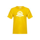 Youth Gold T Shirt-Eagle Lake Badge Distressed