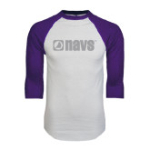 White/Purple Raglan Baseball T Shirt-NAVS