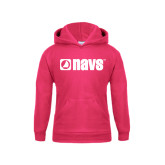 Youth Raspberry Fleece Hoodie-NAVS