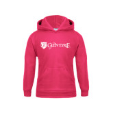Youth Raspberry Fleece Hoodie-Glen Eyrie - Flat