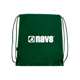 Nylon Dark Green Drawstring Backpack-NAVS