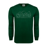 Dark Green Long Sleeve T Shirt-NAVS Line Art Mountains