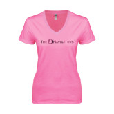 Next Level Ladies Junior Fit Deep V Pink Tee-The Navigators Foil
