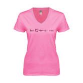 Next Level Ladies Junior Fit Ideal V Pink Tee-The Navigators Foil