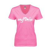 Next Level Ladies Junior Fit Deep V Pink Tee-Eagle Lake Camps