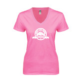 Next Level Ladies Junior Fit Ideal V Pink Tee-Eagle Lake Badge Distressed