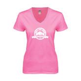 Next Level Ladies Junior Fit Deep V Pink Tee-Eagle Lake Badge Distressed