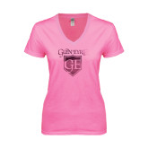 Next Level Ladies Junior Fit Deep V Pink Tee-Glen Eyrie Foil