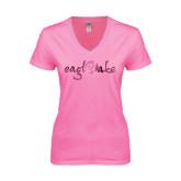 Next Level Ladies Junior Fit Deep V Pink Tee-Eagle Lake Foil
