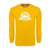Gold Long Sleeve T Shirt-Eagle Lake Badge Distressed