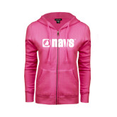 ENZA Ladies Fuchsia Fleece Full Zip Hoodie-NAVS