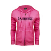 ENZA Ladies Fuchsia Fleece Full Zip Hoodie-NAVS Foil