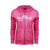 ENZA Ladies Fuchsia Fleece Full Zip Hoodie-Eagle Lake Camps