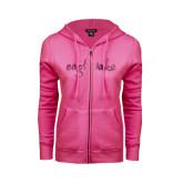 ENZA Ladies Fuchsia Fleece Full Zip Hoodie-Eagle Lake Foil