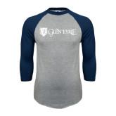 Grey/Navy Raglan Baseball T Shirt-Glen Eyrie - Flat